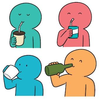 Conjunto de personas bebiendo