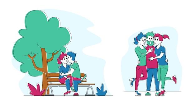 Conjunto de personas besándose. pareja coqueteando en un banco en el parque de la ciudad de verano