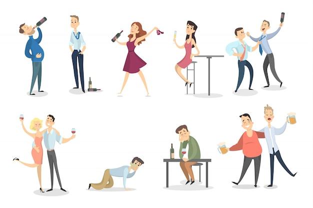 Conjunto de personas borrachas. bailar y pelear, dormir y divertirse.