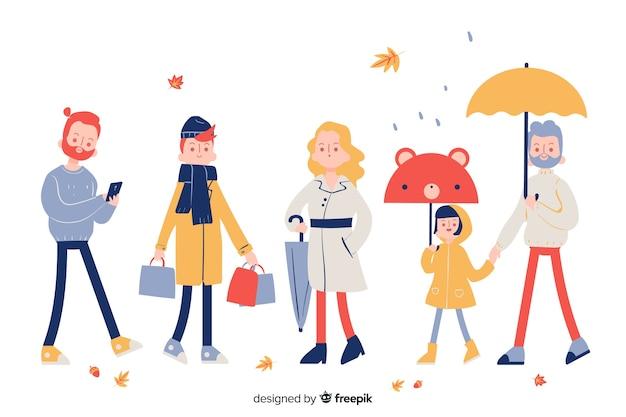 Conjunto de personas caminando en otoño