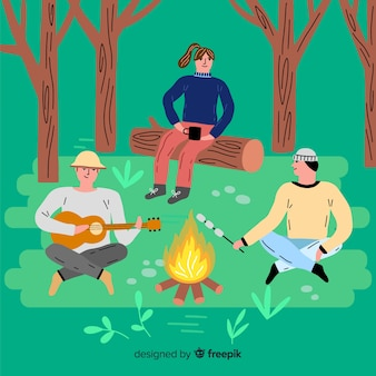 Conjunto de personas camping diseño plano.