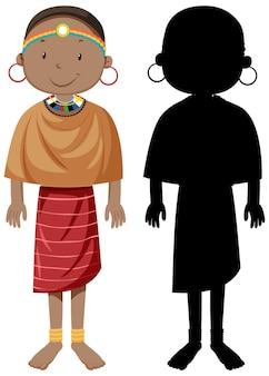 Conjunto de personas de carácter tribus africanas con su silueta