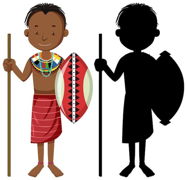 Conjunto de personas de carácter de tribus africanas con su silueta
