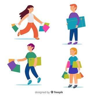 Conjunto de personas cargando bolsas de la compra.