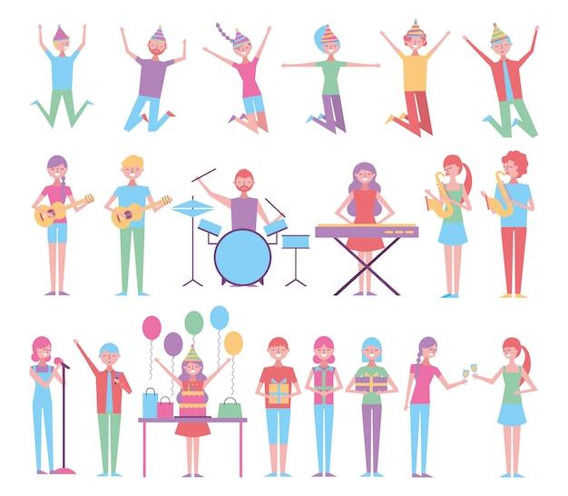 Conjunto de personas celebrando cumpleaños con instrumentos