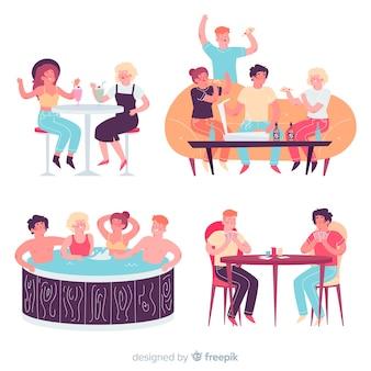 Conjunto de personas celebrando el día de la amistad