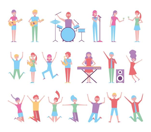Conjunto de personas celebrando con instrumentos