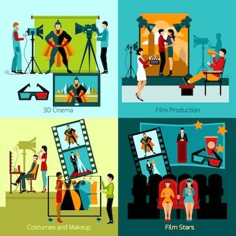 Conjunto de personas de cine