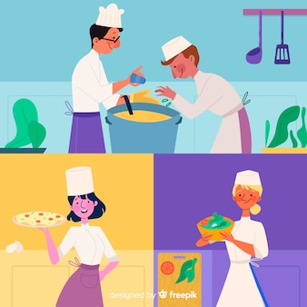 Conjunto de personas cocinando diseño plano.