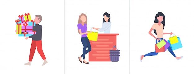 Conjunto de personas con compras coloridas gran venta estacional conceptos de compras colección hombres mujeres compradores sosteniendo cajas de regalo y bolsas de papel de longitud completa horizontal