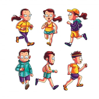 Conjunto de personas corriendo