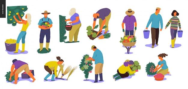 Conjunto de personas cosechadoras