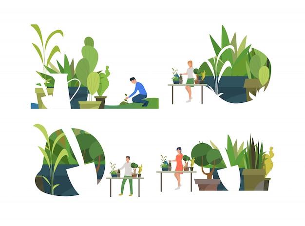 Conjunto de personas cuidando plantas