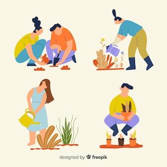Conjunto de personas cuidando las plantas.