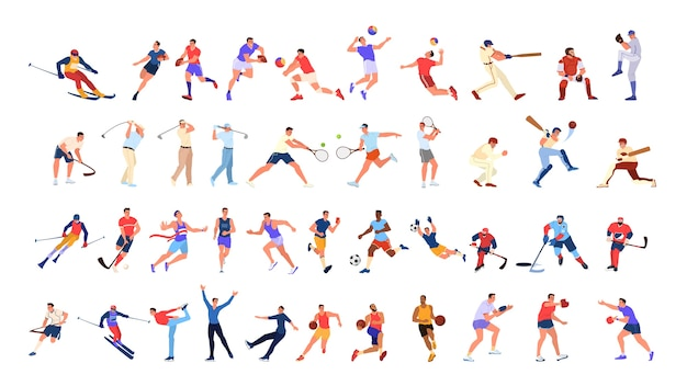 Conjunto de personas deportivas. colección de diferentes actividades deportivas. atleta profesional haciendo deporte. baloncesto, fútbol, voleibol y tenis. ilustración