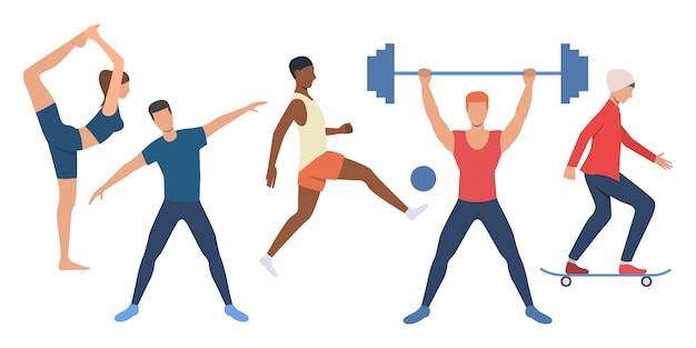 Conjunto de personas deportivas