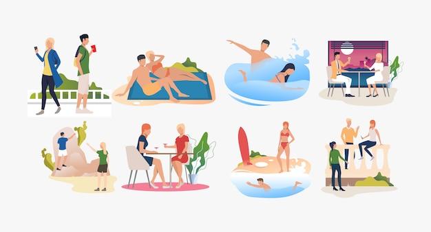 Conjunto de personas descansando en resorts y disfrutando el verano.