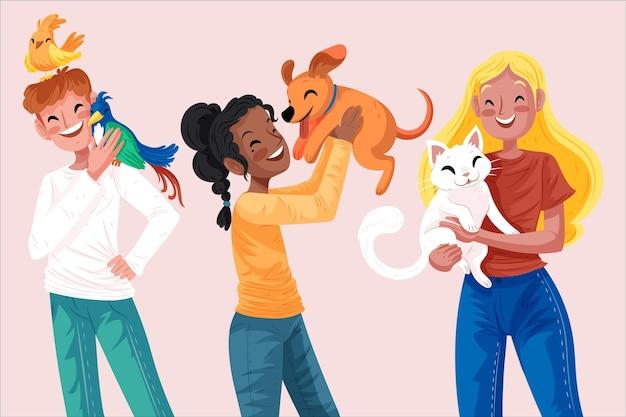 Conjunto de personas dibujadas a mano con mascotas
