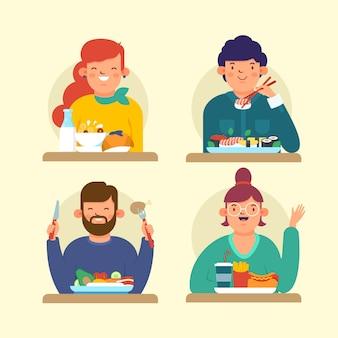 Conjunto de personas con diferentes alimentos.