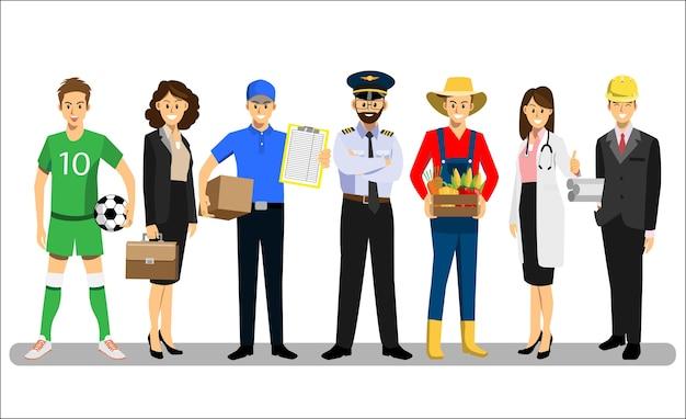 Conjunto de personas de diferentes personajes de carrera diseño.