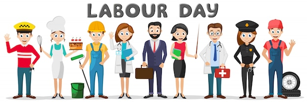 Conjunto de personas de diferentes profesiones en un blanco. día laboral
