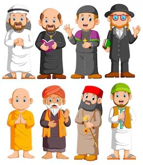 Conjunto de personas de diferentes religiones de colección