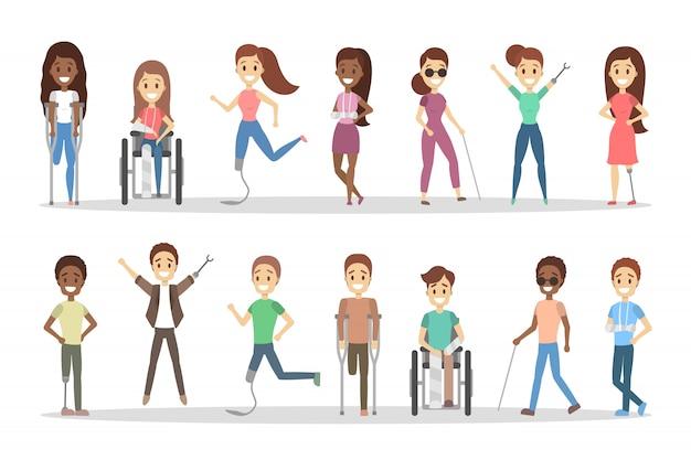 Conjunto de personas con discapacidad. hombres y mujeres con muletas y silla de ruedas.