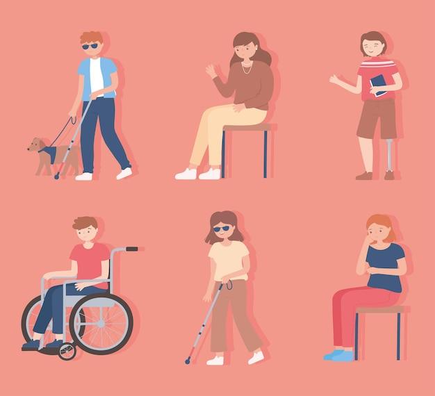 Conjunto de personas discapacitadas, ciegas, caminando y sentadas personajes ilustración de dibujos animados