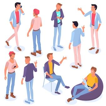 Conjunto de personas de diseño plano isométrico con diferentes estilos de personajes y profesiones hombres de actuación isométrica de longitud completa actuando diversas poses listas para la colección de animación