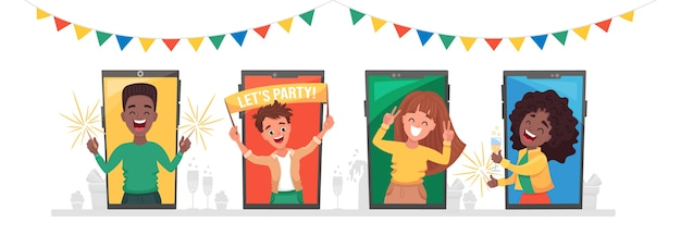 Conjunto de personas diversas, hombres y mujeres en su casa, celebrando en video chat y haciendo fiesta en línea