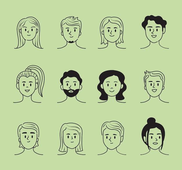 Conjunto de personas doddle