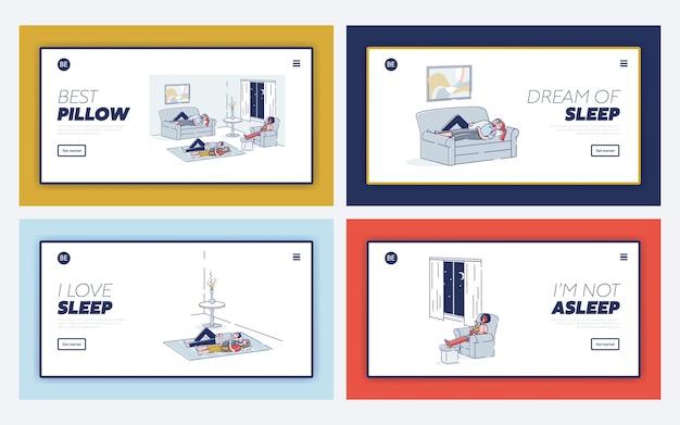 Conjunto de personas durmiendo concepto de sueño saludable con personajes durmiendo