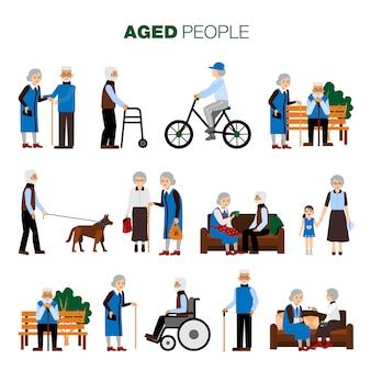 Conjunto de personas de edad avanzada
