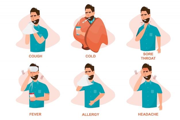 Conjunto de personas enfermas con malestar, tos, resfriado, dolor de garganta, fiebre, alergia y dolor de cabeza.
