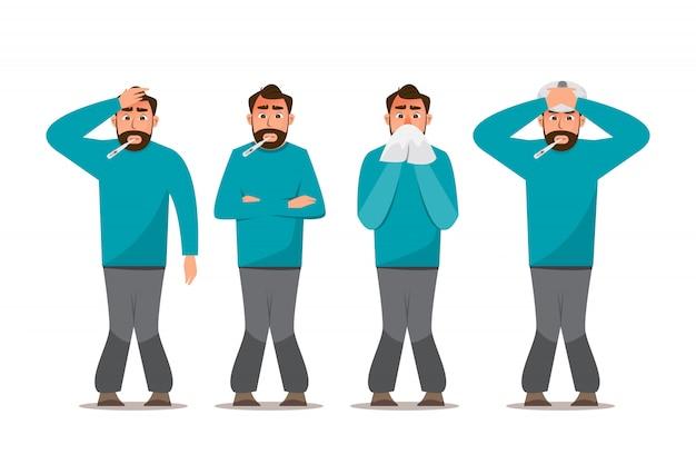 Conjunto de personas enfermas que se sienten mal, tienen resfriado, dolor de cabeza y fiebre