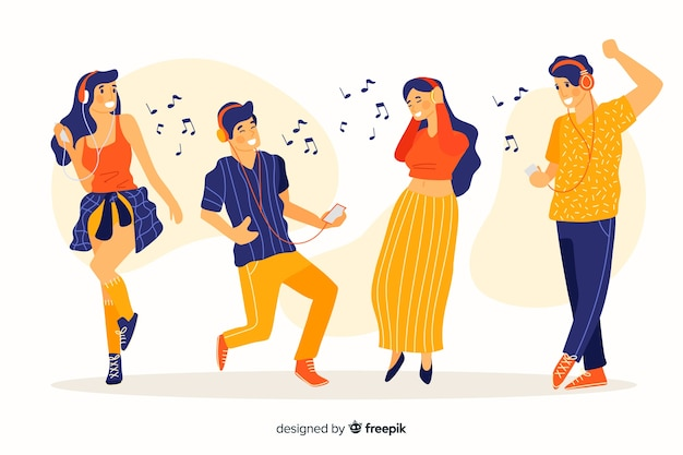 Conjunto de personas escuchando música y bailando ilustrado