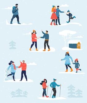 Conjunto de personas felices y descanso familiar de vacaciones de invierno