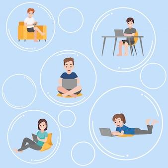 Conjunto de personas flotando dentro de la burbuja se comunican y se aíslan