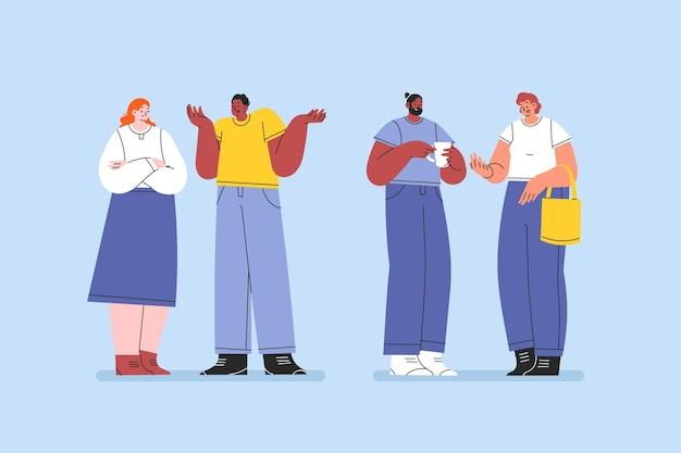 Conjunto de personas hablando planas dibujadas a mano