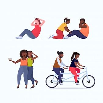 Conjunto personas haciendo diferentes ejercicios sobrepeso hombres mujeres entrenamiento entrenamiento pérdida de peso conceptos colección fondo blanco de longitud completa