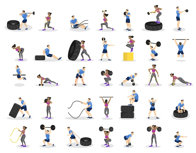 Conjunto de personas haciendo ejercicio. ejercicio de fitness y musculación