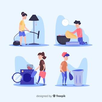 Conjunto de personas haciendo tareas domésticas