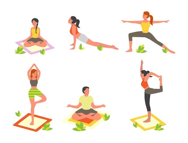 Conjunto de personas haciendo yoga en el parque. asana o ejercicio para hombres y mujeres. salud fisica y mental. relajación corporal y meditación al aire libre. ilustración