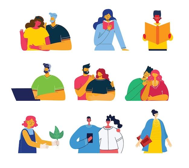 Conjunto de personas, hombres y mujeres con cosas diferentes objetos gráficos vectoriales para collages e ilustraciones. estilo plano colorido moderno.