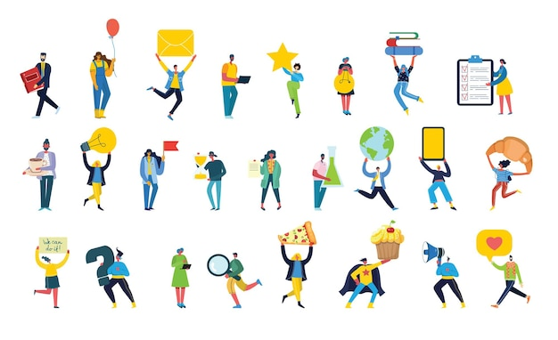 Conjunto de personas, hombres y mujeres con diferentes signos: libro, trabajo en computadora portátil, búsqueda con lupa, comunicación.