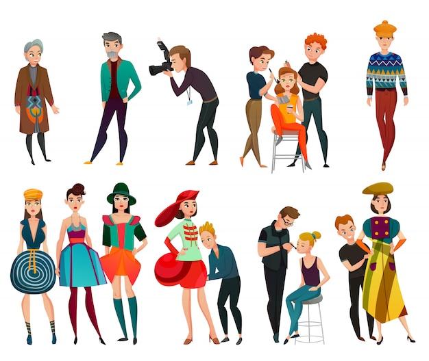 Conjunto de personas en la industria de la moda
