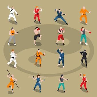 Conjunto de personas isométricas de artes marciales