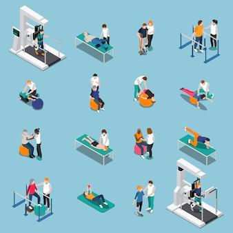 Conjunto de personas isométricas de rehabilitación de fisioterapia