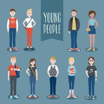 Conjunto de personas jóvenes