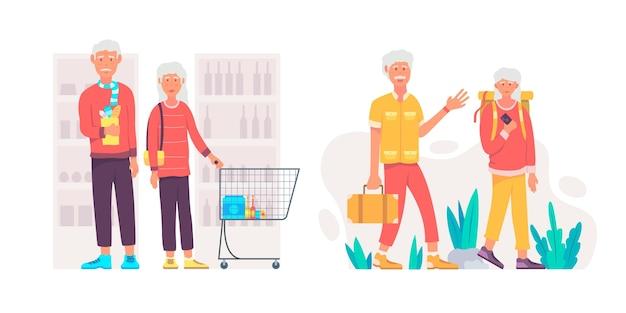 Conjunto de personas mayores activas de diseño plano.